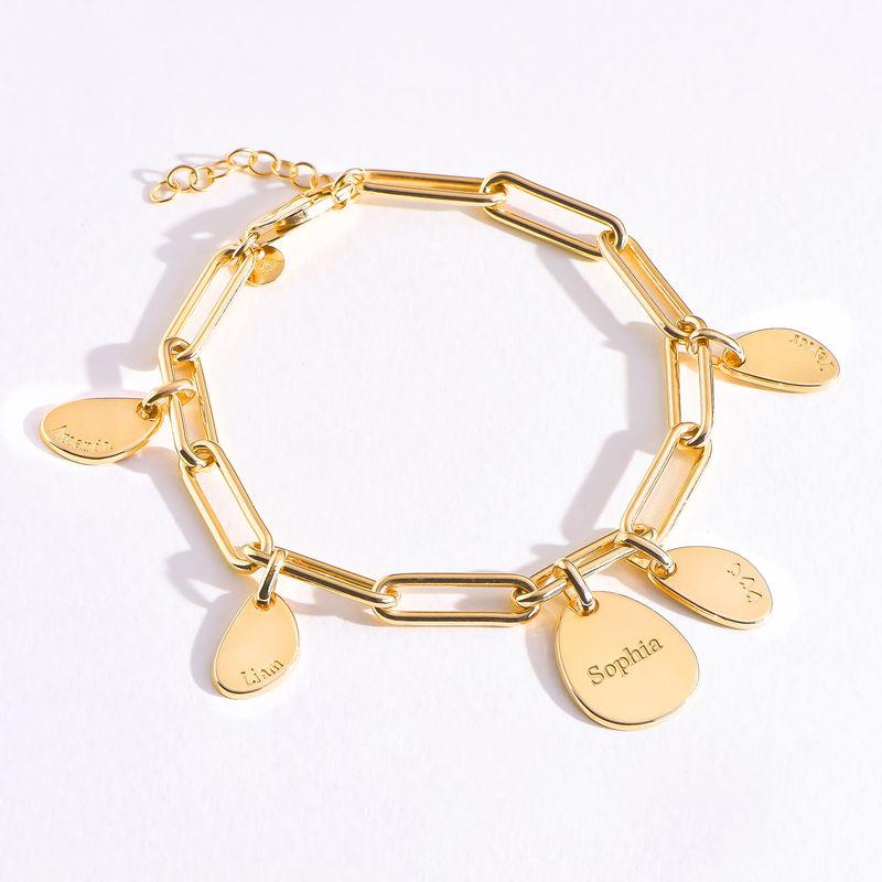 Bracelet Chaîne Personnalisée avec Charmes Gravées en Or Vermeil 18cts - 1