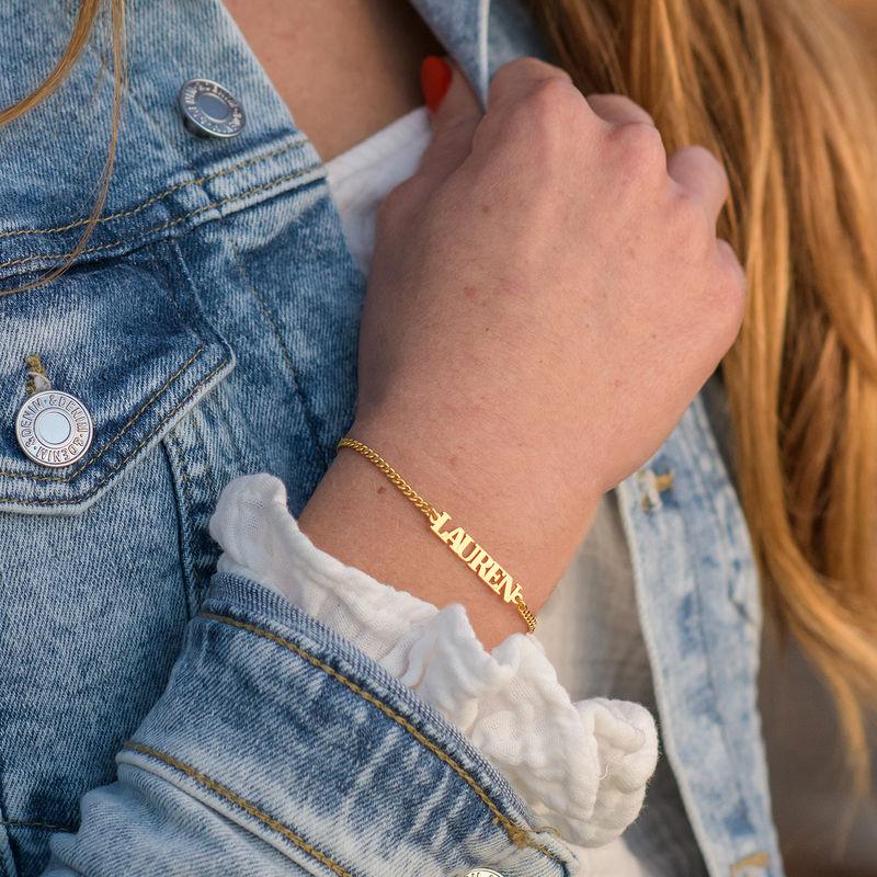 Bracelet Prénom avec Lettres Majuscules en Or Vermeil 18Cts - 1