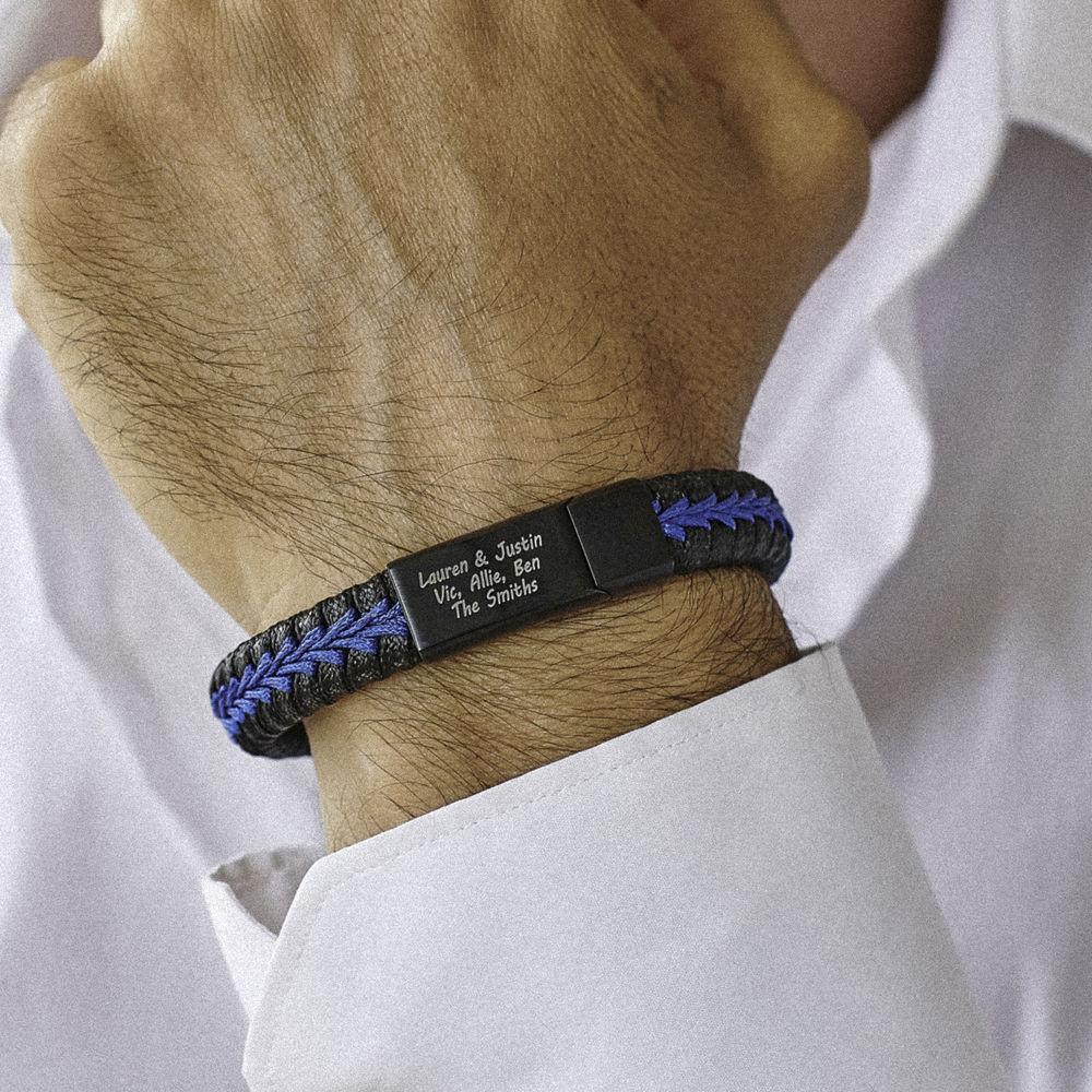 Bracelet Homme en cuir tressé personnalisé en bleu et noir - 2