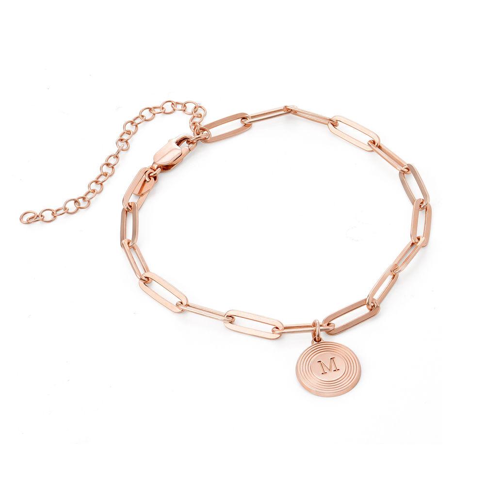 Bracelet Odeion chaîne avec Initiale en plaqué or rose 18 carats