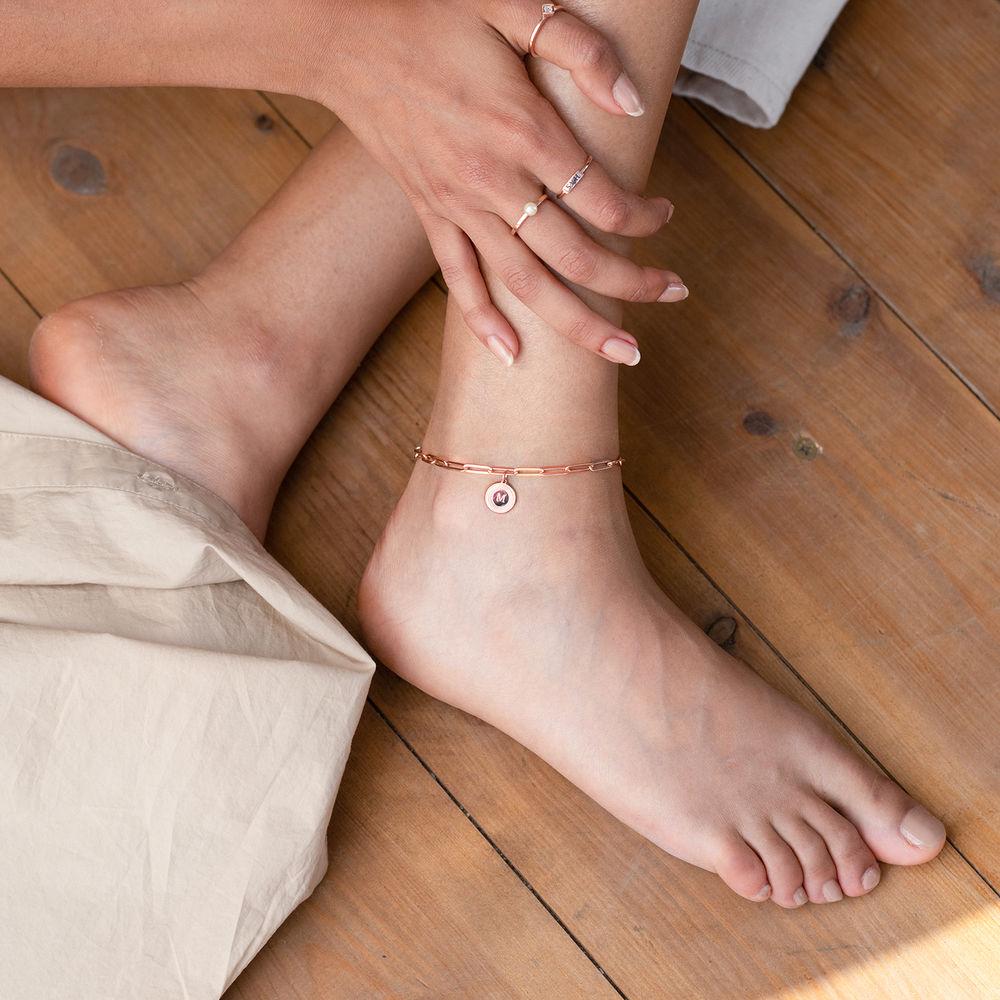 Bracelet Odeion chaîne avec Initiale en plaqué or rose 18 carats - 2
