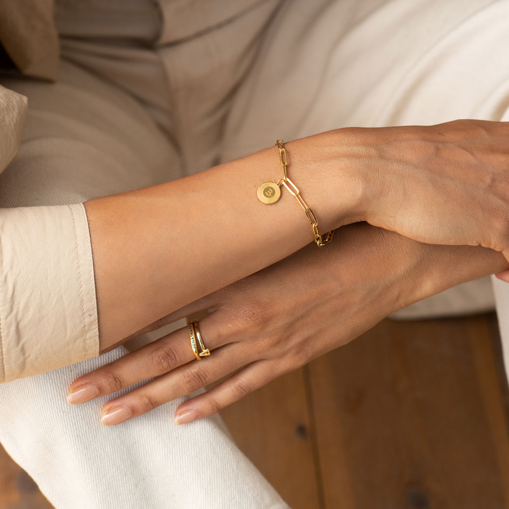 Bracelet Odeion chaîne avec Initiale en Or Vermeil - 2