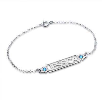 Bracelet Prénom ajouré avec pierres de naissance - 1