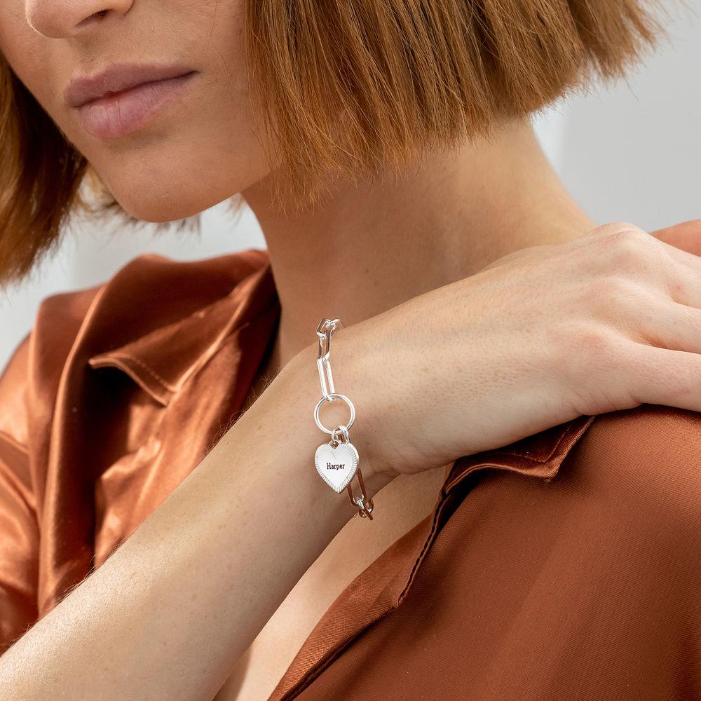 Bracelet à maillons en forme de cœur en argent - 2
