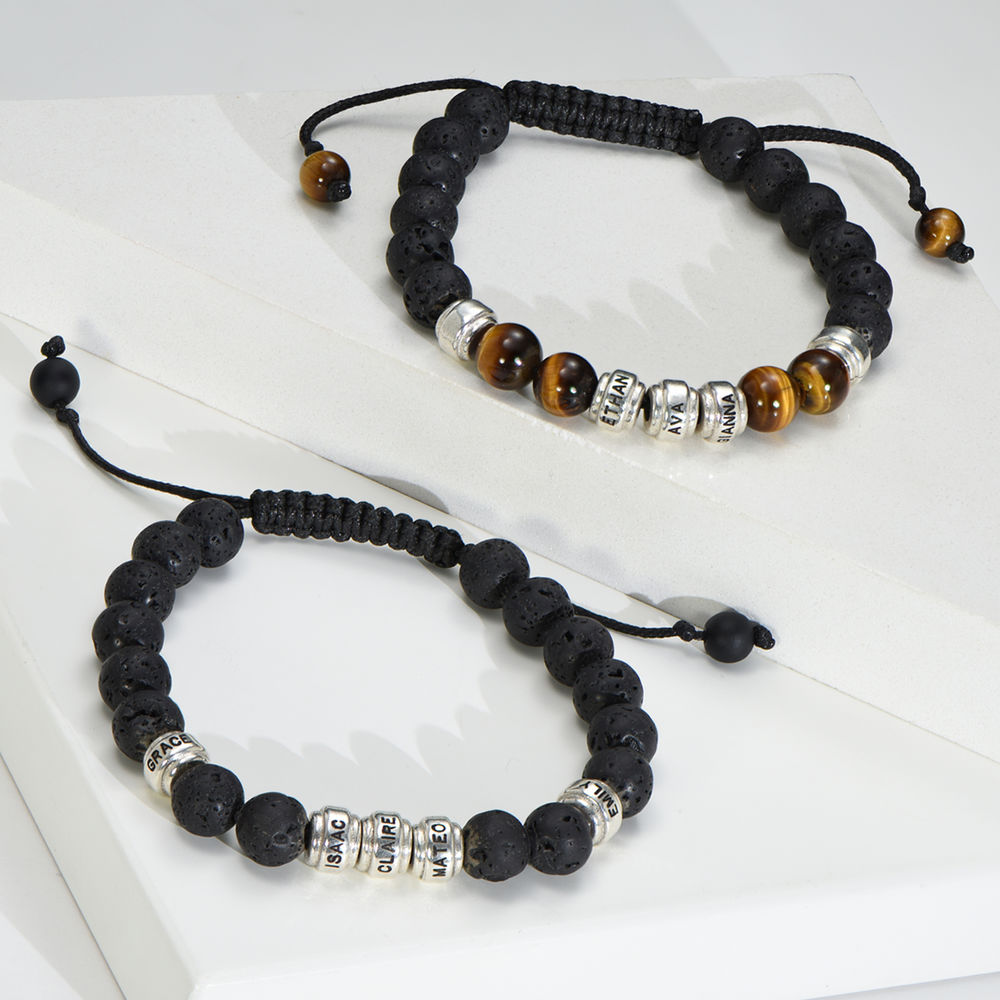Bracelet en perles avec des yeux de tigre bruns et des pierres de lave noires pour hommes - 1