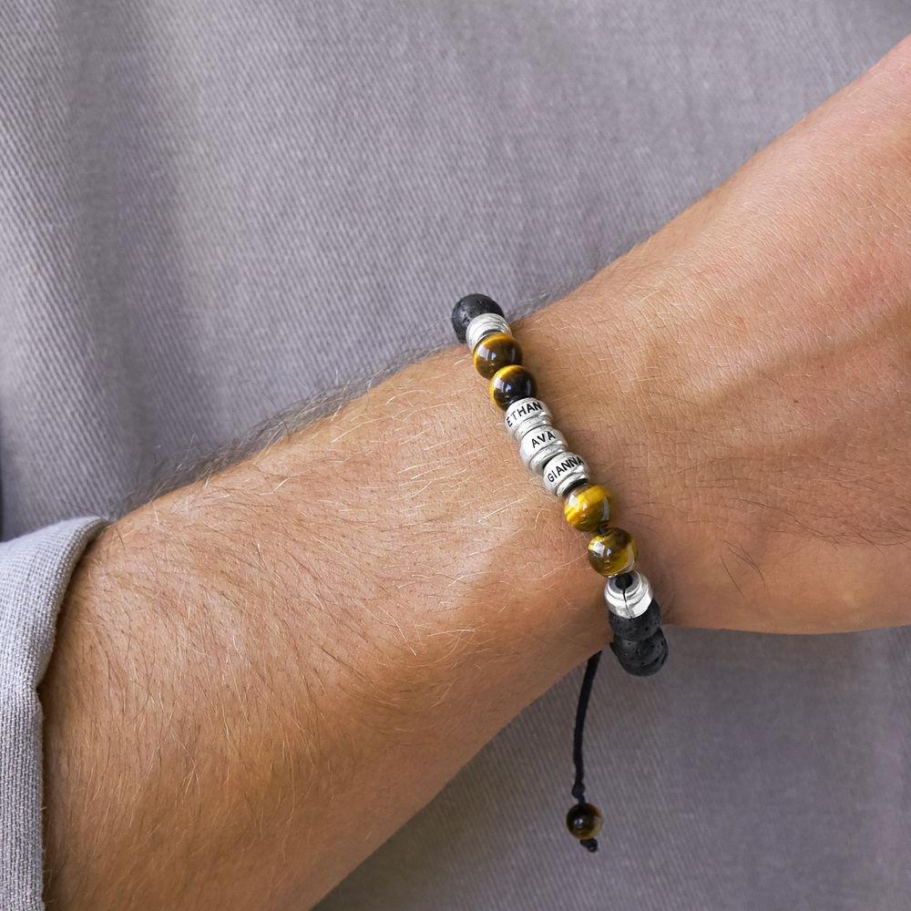 Bracelet en perles avec des yeux de tigre bruns et des pierres de lave noires pour hommes - 2