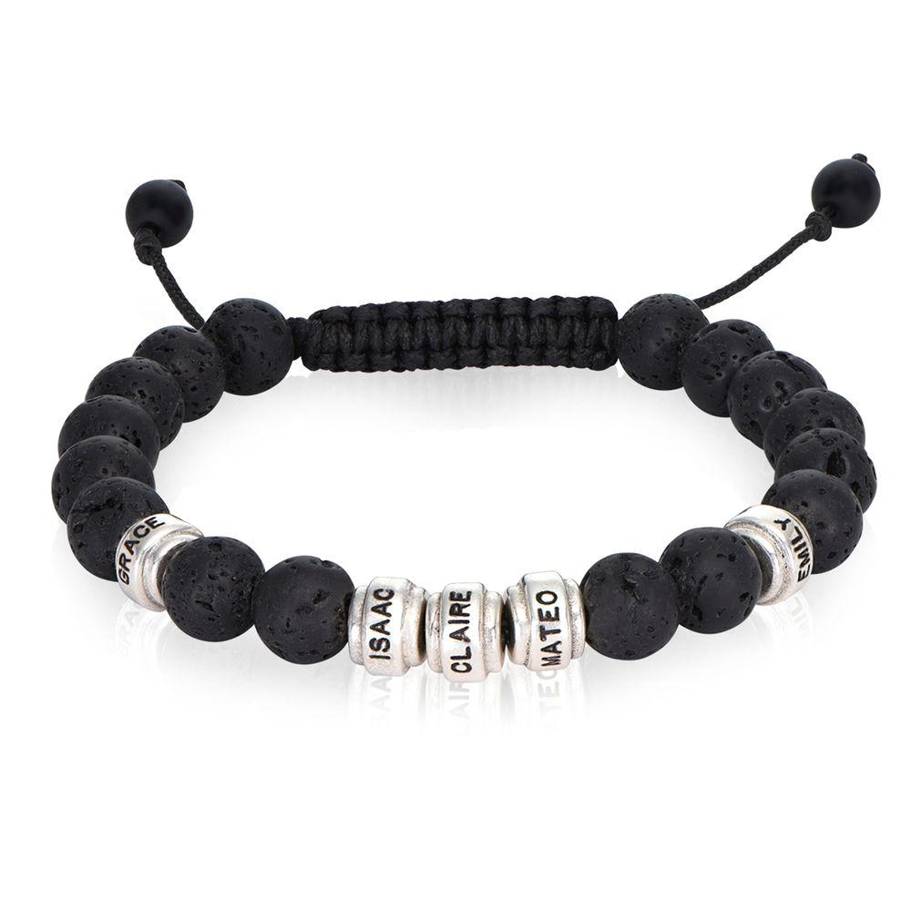Bracelet de perles noires avec pierres de lave pour hommes