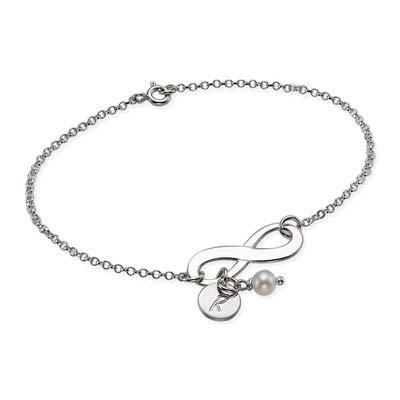 Bracelet Infini en Argent avec breloque Initiale