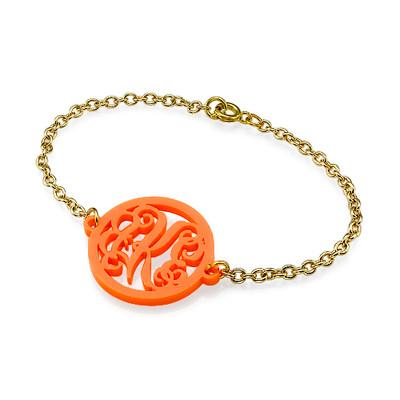 Bracelet Monogramme couleur avec chaîne plaquée or 18cts