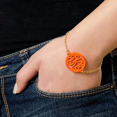 Bracelet Monogramme couleur avec chaîne plaquée or 18cts - 1