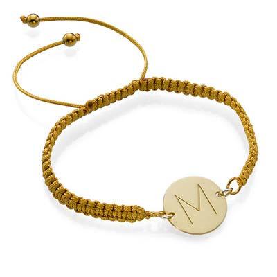 Bracelet Initiale Plaqué Or sur Cordon
