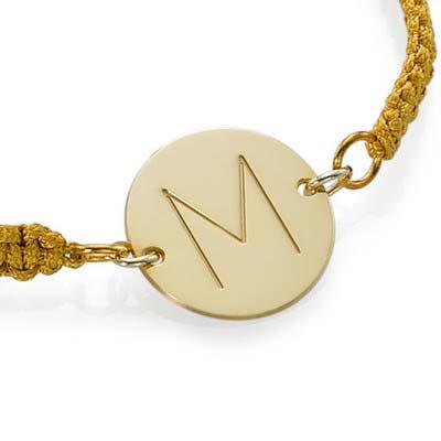Bracelet Initiale Plaqué Or sur Cordon - 1
