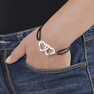 Bracelet couple gravé avec pierres de naissances - 2