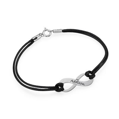 Bracelet Infini Gravé d'un Prénom avec Cordon Imitation Cuir