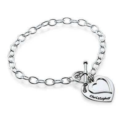 Bracelet double cœur à personnaliser - 1