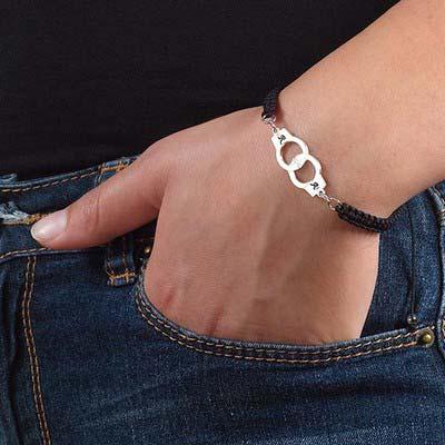 Bracelet Menottes Initiales sur Cordon - 2