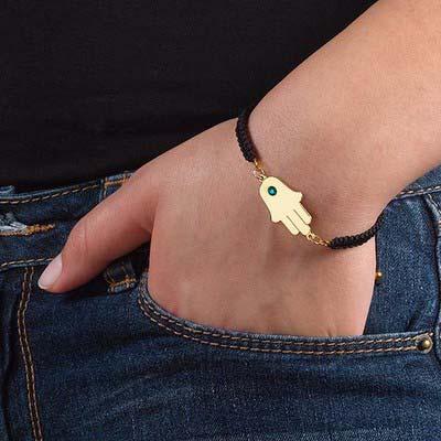 Bracelet Hamsa Plaqué Or avec Pierre de Naissance - 2