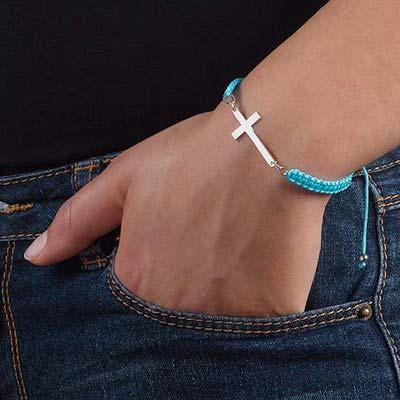 Bracelet Cordon Croix Argent - 2