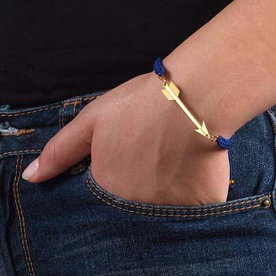 Bracelet Flèche Plaquée Or sur Cordon - 2