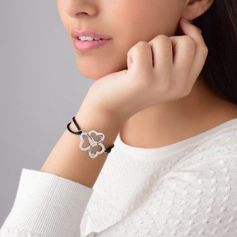 Bracelet 3 cœurs avec pierres de naissance Swaroski - 4