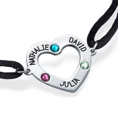 Bracelet cœur avec pierres de naissance - 1