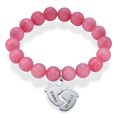 Bracelet de Perles avec Pieds de Bébé