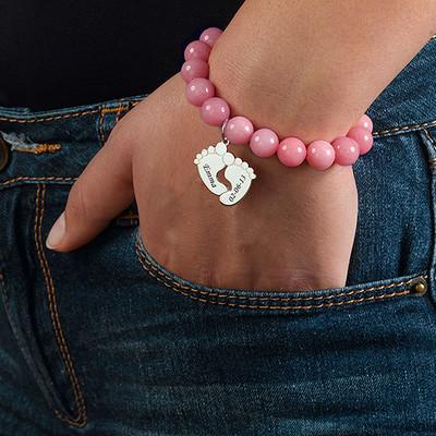 Bracelet de Perles avec Pieds de Bébé - 2