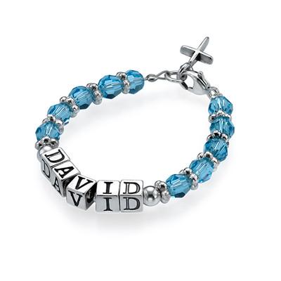 Bracelet en bleu nom de bébé personnalisé
