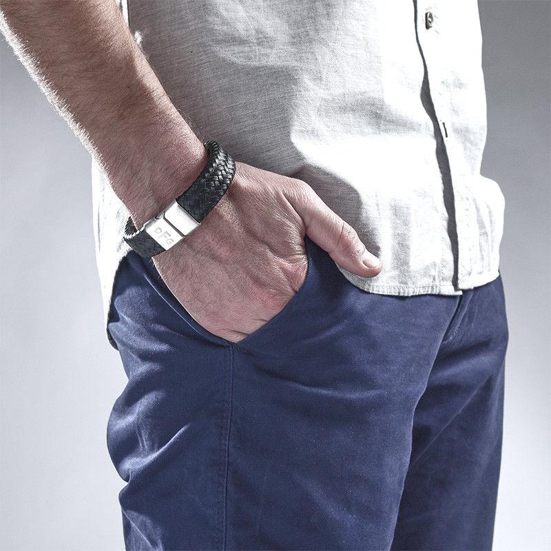 Large Bracelet Homme en cuir tressé personnalisé - 3