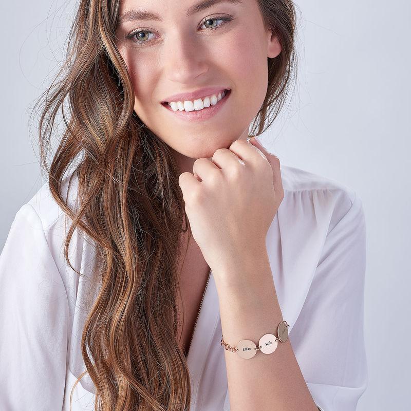 Cadeau Spécial Maman - Bracelet Disque Prénom en Plaqué Or Rose 18 cts - 1