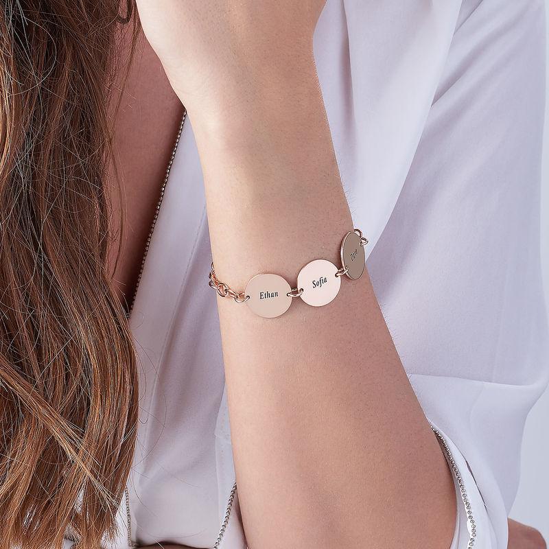 Cadeau Spécial Maman - Bracelet Disque Prénom en Plaqué Or Rose 18 cts - 2