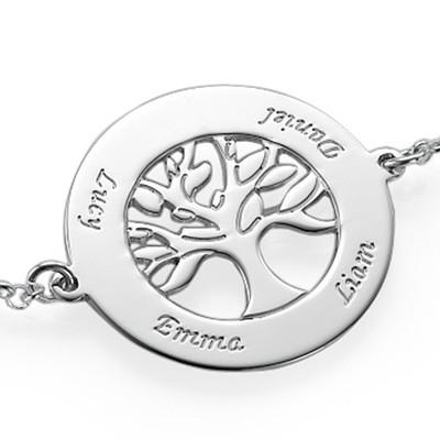 Bracelet Arbre Généalogique Gravé en Argent - 1