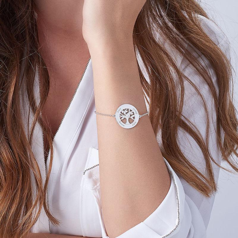 Bracelet Arbre Généalogique Gravé en Argent - 3