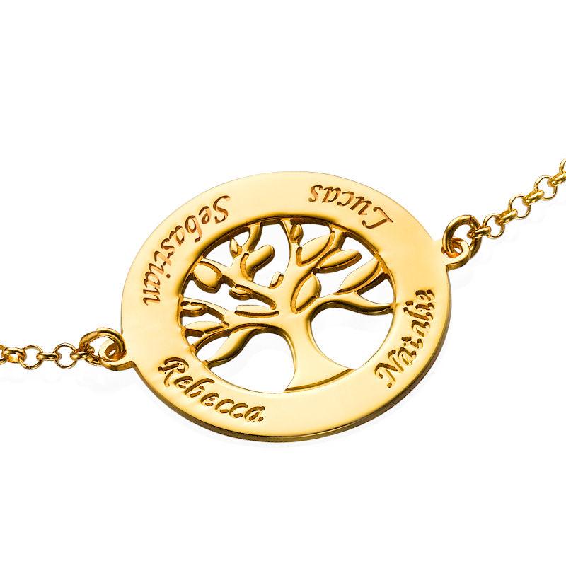 Bracelet Arbre Généalogique Gravé en Vermeil d'Or - 1