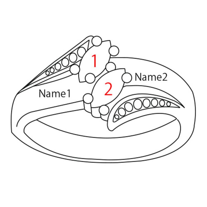 Bague personnalisable 2 pierres de Naissance - 4