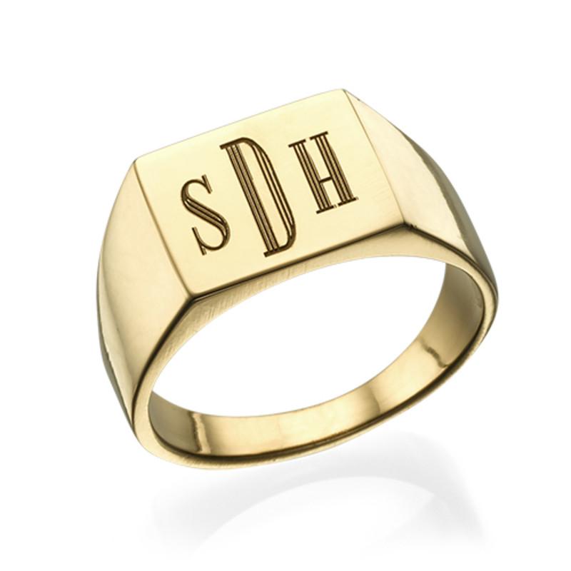 Bague chevalière plaquée or homme - gravure monogramme