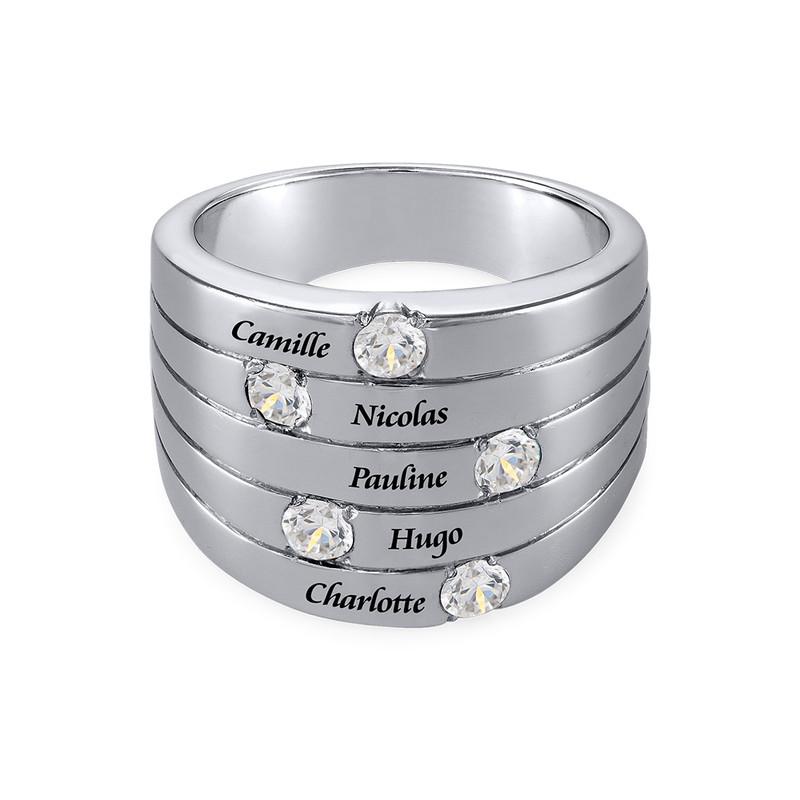Bague pour Mamans et ses 5 Pierres couleur diamant - 1
