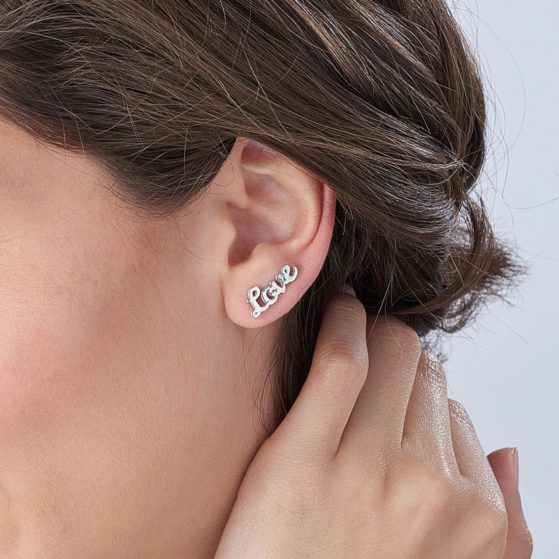 Boucles d'oreilles montantes personnalisées en argent - 3