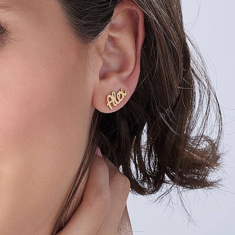 Boucles d'oreilles montantes personnalisées en plaqué or 18 carats - 3