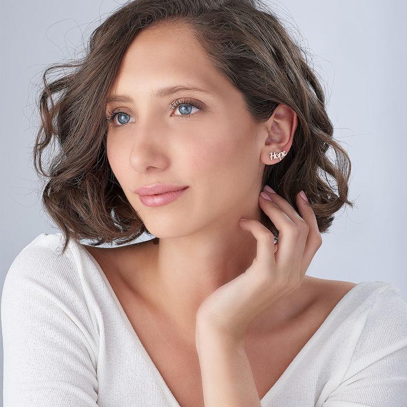 Boucles d'oreilles montantes personnalisées en plaqué or rose 18 carats - 2