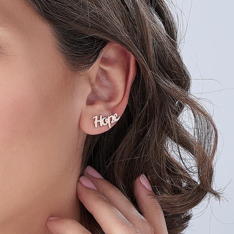 Boucles d'oreilles montantes personnalisées en plaqué or rose 18 carats - 3