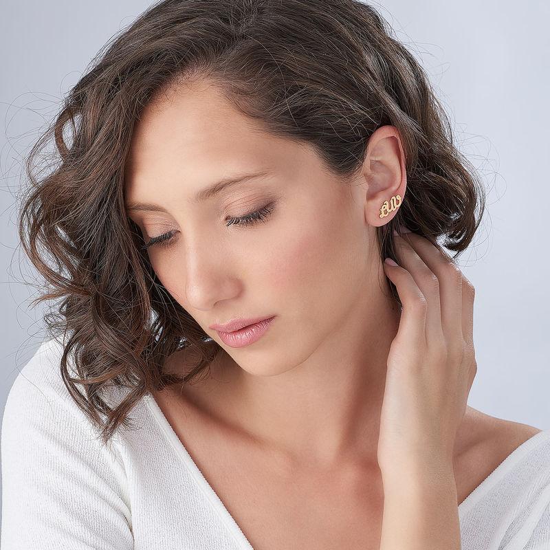 Clous d'oreilles trigramme en plaqué or 18 carats - 1