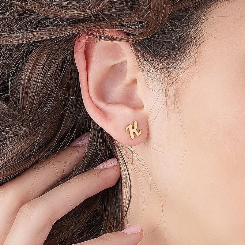 Clous d'oreilles trigramme en plaqué or 18 carats - 2
