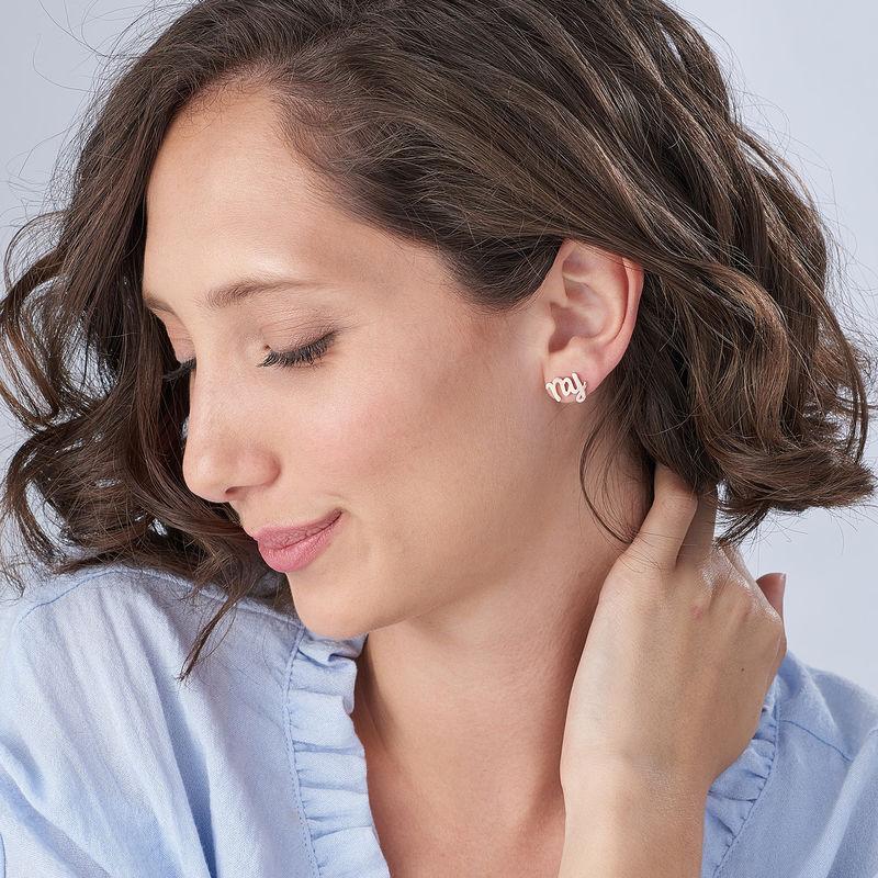 Clous d'oreilles trigramme en plaqué or rose 18 carats - 1