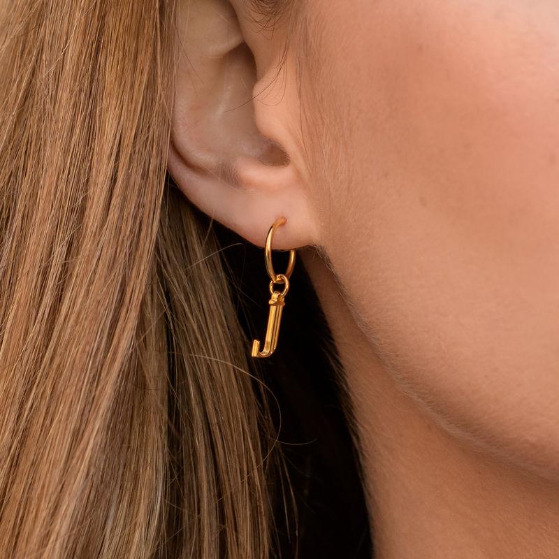Boucles d'Oreilles avec Initiale et Perle Baroque en Plaqué Or 18cts - 4