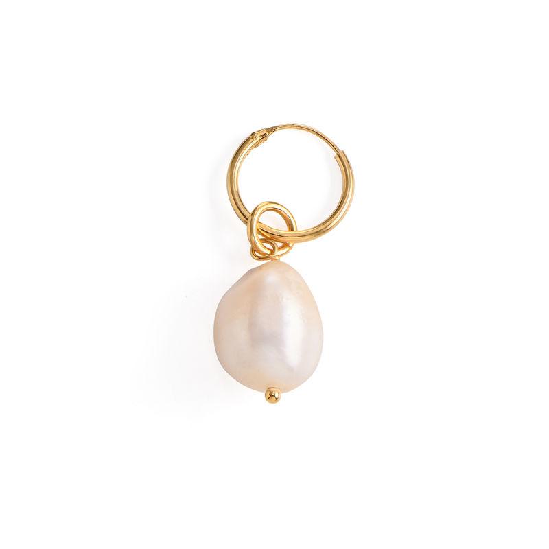 Boucles d'Oreilles avec Initiale et Perle Baroque en Or Vermeil 18cts - 2