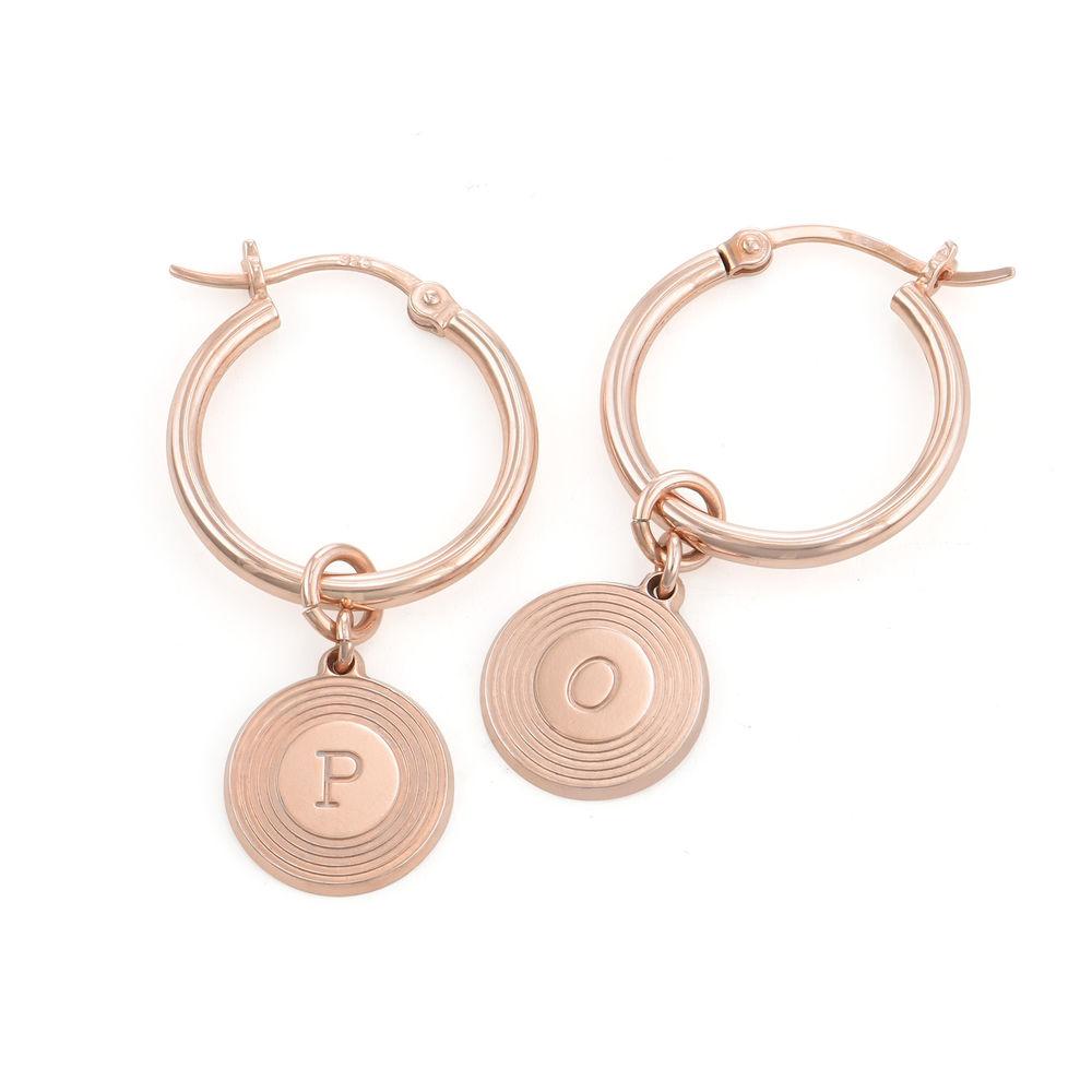 Boucles d'Oreille Odeion en plaqué or rose 18 carats avec Initiale gravée