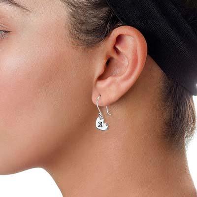Boucles d'oreilles pendantes cœur avec Initiales - 1