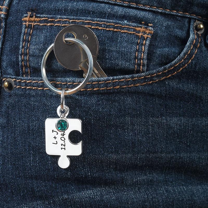 Porte-clés Puzzle Couple avec Cristal - 5