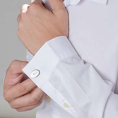 Boutons de Manchette Ovales Personnalisés Plaqué Rhodium - 1